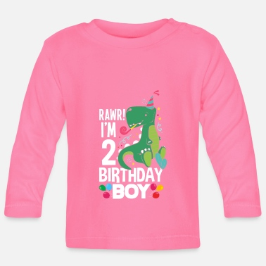 Boy Dinosaur 2 2nd birthday boy 2 years dinosaur T Rex - Baby Longsleeve Shirt