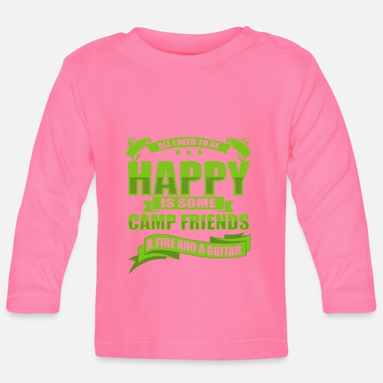 Camping Babykleidung - All I Need To Be Happy Is Some Camp Friends - Baby Langarmshirt Azalea