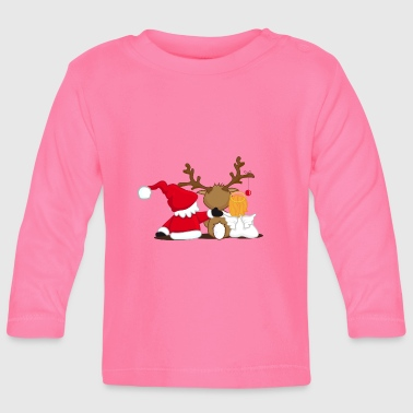 Santa Claus, reindeer and an angel - Baby Long Sleeve T-Shirt