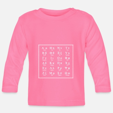 Ancient Greek alphabet m. Letter names white - Baby Longsleeve Shirt