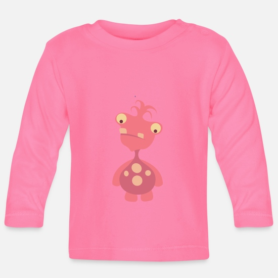 Small Baby Clothes - Cute monster - Baby Longsleeve Shirt azalea