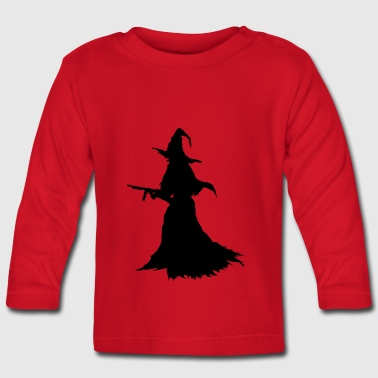 Witch with Assault Rifle / AK for Halloween - Baby Long Sleeve T-Shirt