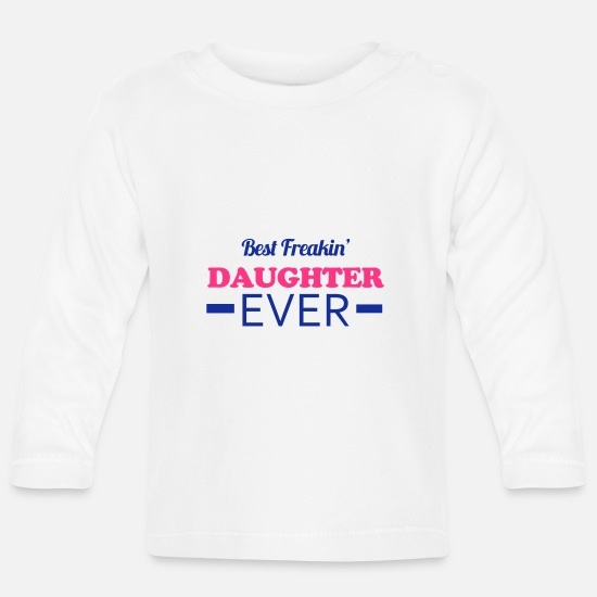 Daughter Baby Clothes - Daughter - Baby Longsleeve Shirt white