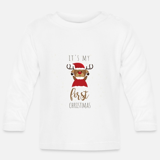 Christmas Babykleidung - it's my first Christmas - Baby Langarmshirt Weiß