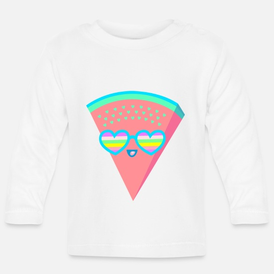Birthday Baby Clothes - Melon heart sunglasses rainbow - Baby Longsleeve Shirt white