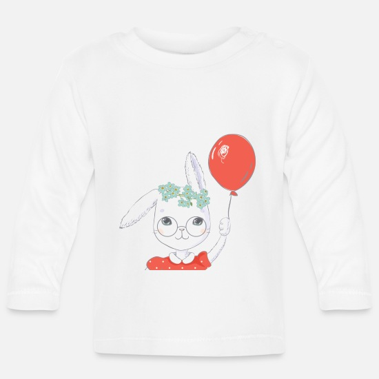 Easter Baby Clothes - Cute easter bunny balloon gift - Baby Longsleeve Shirt white