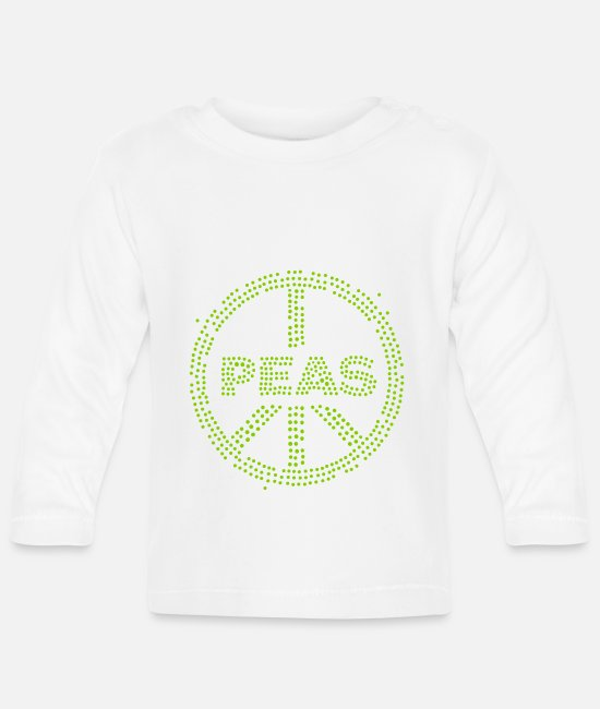 Hipster Baby Long-Sleeved Shirts - Peas - Baby Longsleeve Shirt white