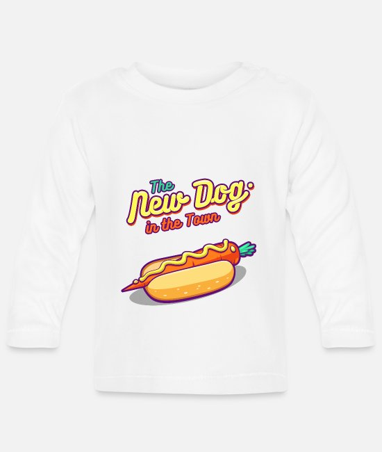 Indie Baby Long-Sleeved Shirts - The New Dog in the Town - Baby Longsleeve Shirt white