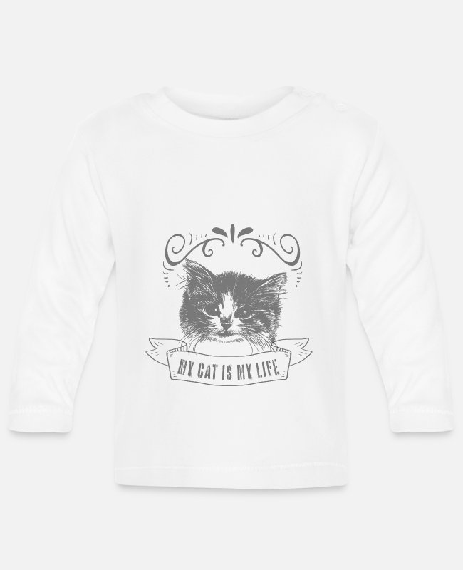 Catlike Baby Long-Sleeved Shirts - Cat cats domestic cat - Baby Longsleeve Shirt white