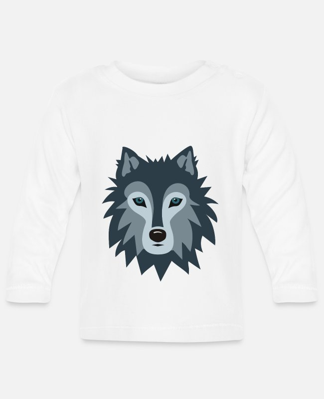 Stag Baby Long-Sleeved Shirts - Wolf - Baby Longsleeve Shirt white