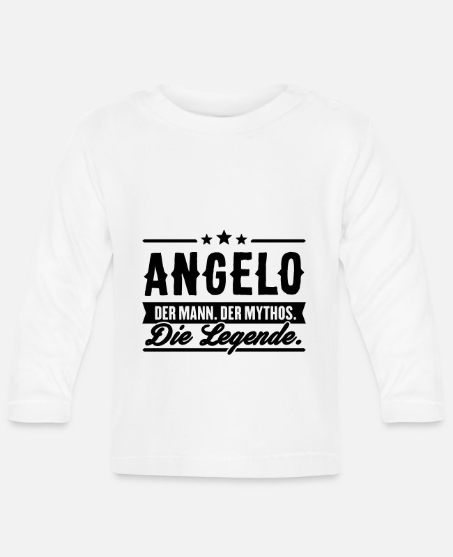 Father And Son Baby Long-Sleeved Shirts - Man Myth Legend Angelo - Baby Longsleeve Shirt white
