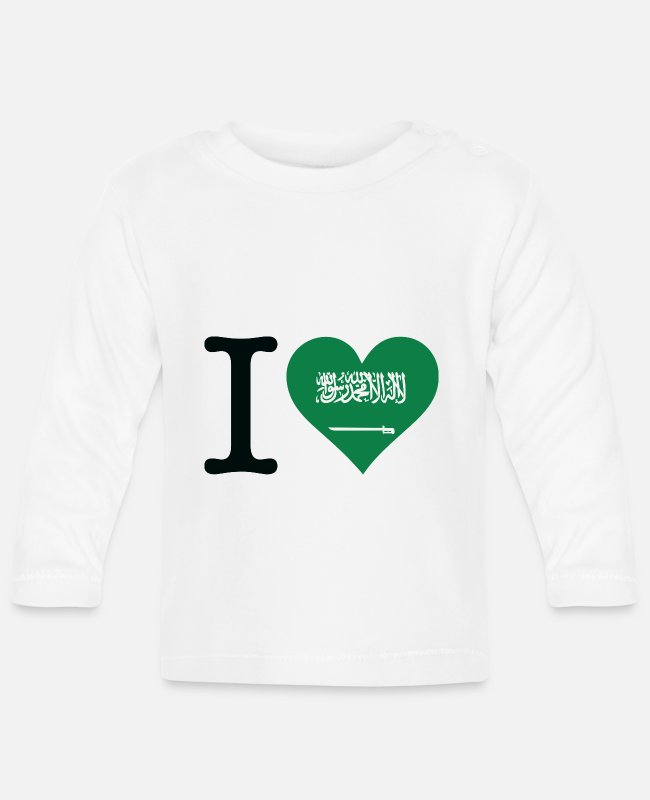 Saudi Arabia Baby Long-Sleeved Shirts - I Love Saudi Arabia - Baby Longsleeve Shirt white
