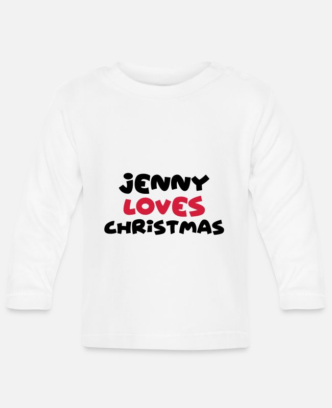 Christmas Baby Long-Sleeved Shirts - jenny loves christmas xmas name - Baby Longsleeve Shirt white
