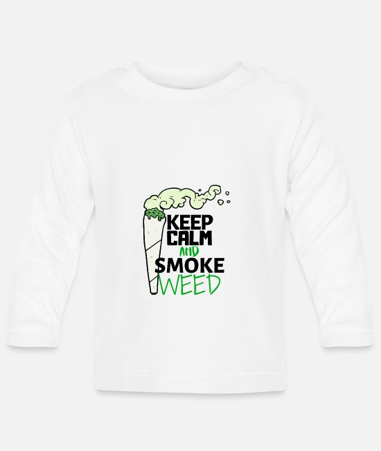 Keep Calm Baby Long-Sleeved Shirts - Keep Calm and smoke Weed Ganja - Baby Longsleeve Shirt white