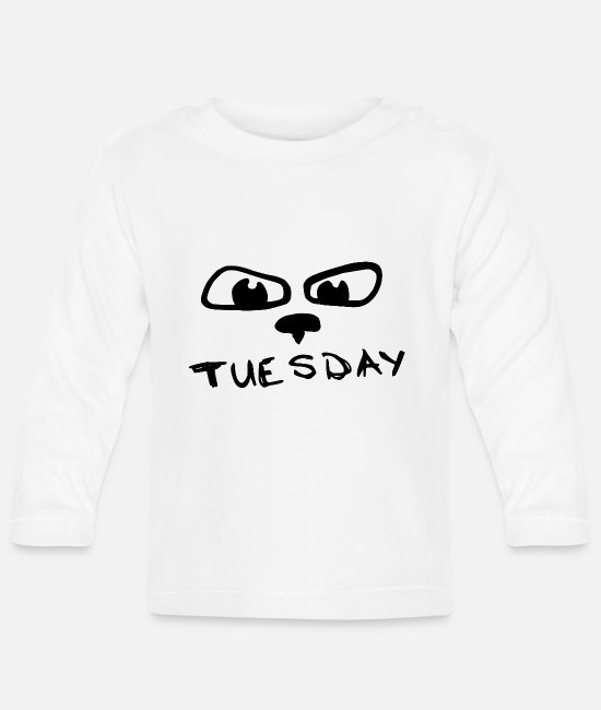 Days Of The Week Baby Clothes - tuesday with eyes - Baby Longsleeve Shirt white