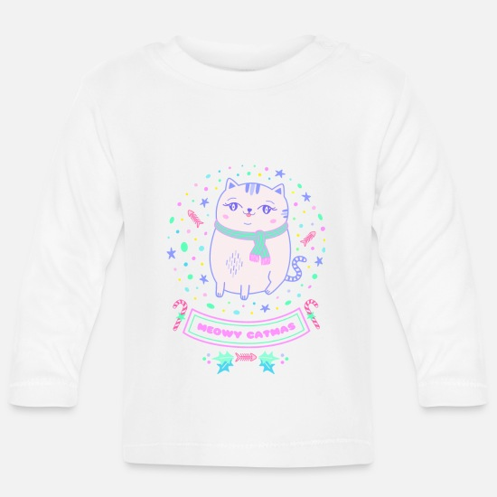 Gift Idea Baby Clothes - Cat christmas christmas gift girl pink - Baby Longsleeve Shirt white