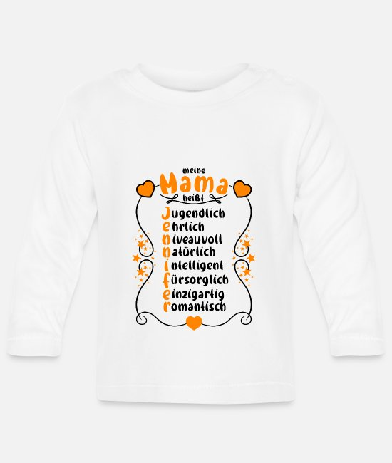 Mother Baby Long-Sleeved Shirts - My mom's name is Jennifer - Baby Longsleeve Shirt white