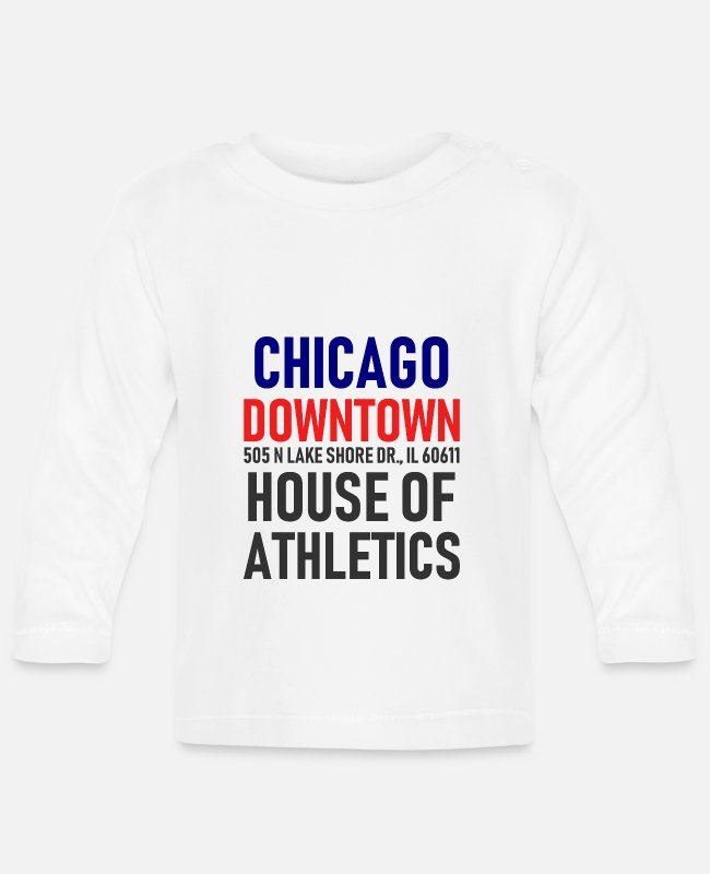 Sport Baby Langarmshirts - Chicago Downtown - House of Athletics - Illionois - Baby Langarmshirt Weiß