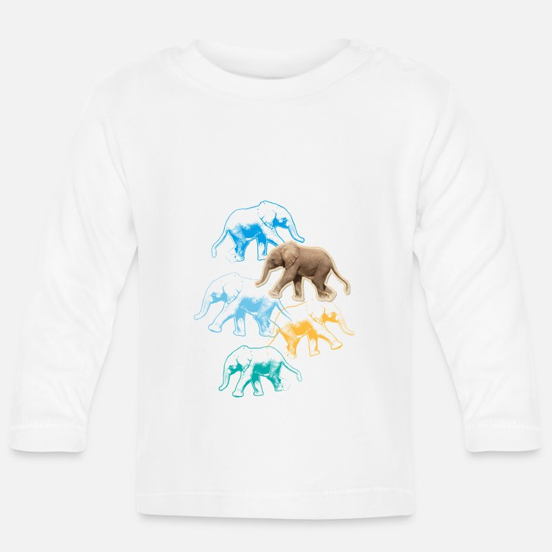 Animal Planet Baby Clothing - Animal Planet Elephants - Baby Longsleeve Shirt white