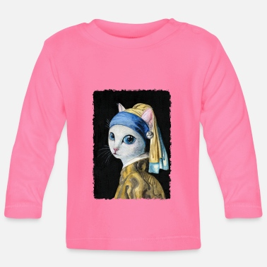 Cat with a Pearl Earring - Baby Longsleeve Shirt