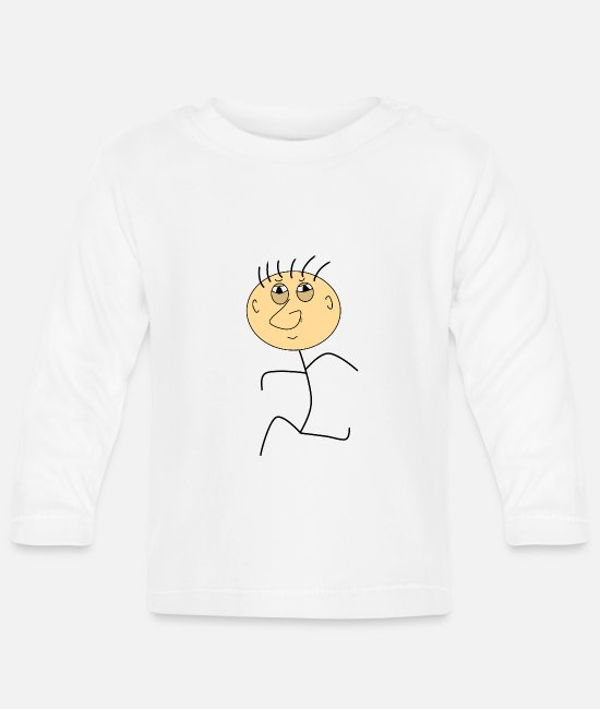 Stick Man Baby Clothes - Strichmann is pretty - Baby Longsleeve Shirt white