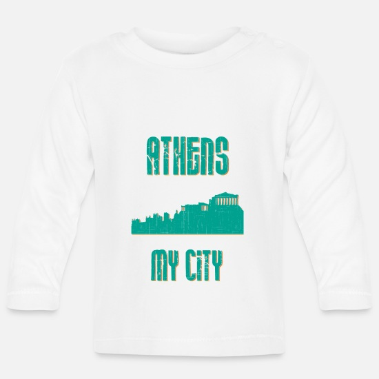Country Baby Clothes - ATHENS MY CITY - Baby Longsleeve Shirt white