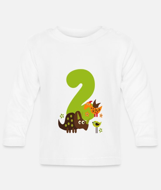 Number Baby Clothes - Birthday Number 2 Dino Dinosaur boy - Baby Longsleeve Shirt white