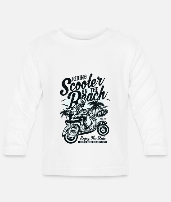 Proud Baby Long-Sleeved Shirts - Scooter beach moped moped Italy two-wheeled bike - Baby Longsleeve Shirt white
