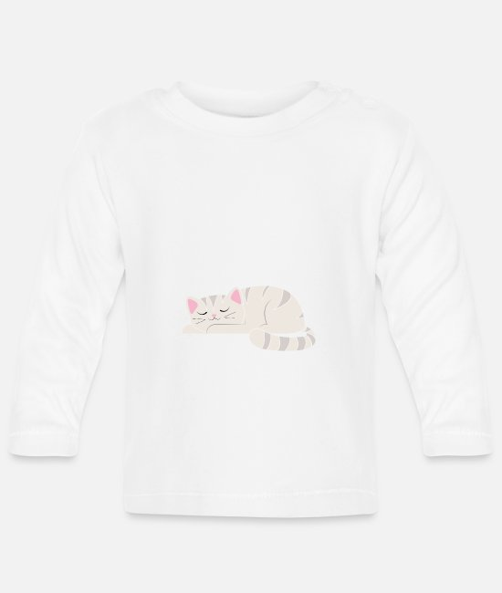 Cat Baby Long-Sleeved Shirts - Cat is late - Baby Longsleeve Shirt white