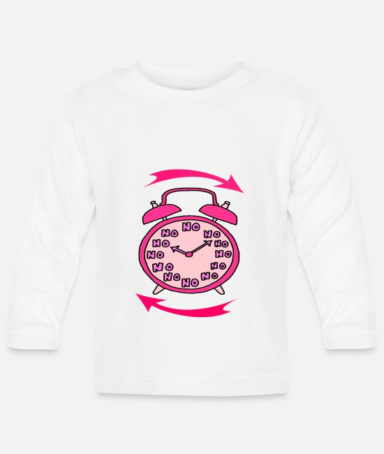 Alarm Clock Baby Clothes - Clock - Baby Longsleeve Shirt white