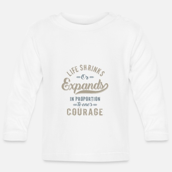 Typography Baby Clothes - Courage - Baby Longsleeve Shirt white