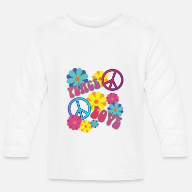 Love 058 - love peace hippie flower power - Baby Langarmshirt