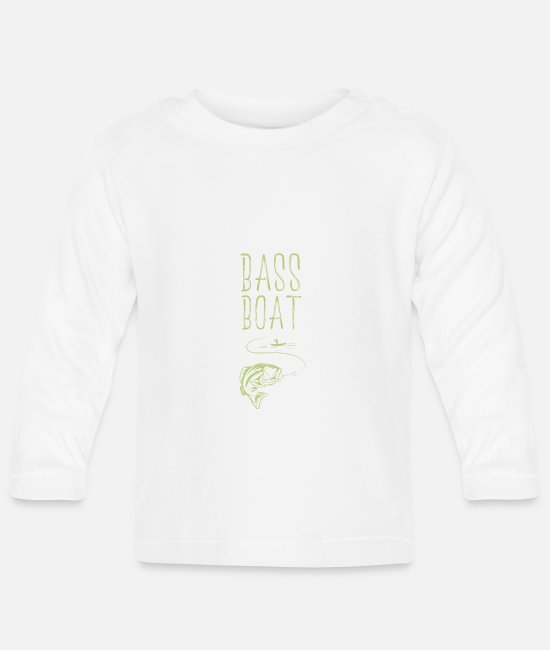 Bass Boat Present Baby Clothes - Bass Boat - Bass Boat - Baby Longsleeve Shirt white