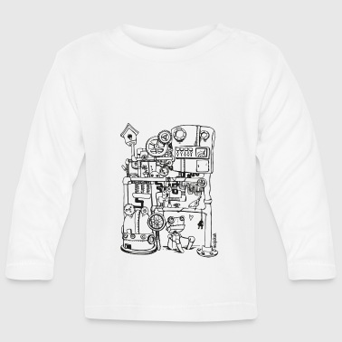Techie Robin the robot and just bird - Baby Long Sleeve T-Shirt