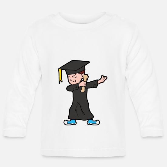 Graduation Baby Clothes - Dabbing Dab Degree Graduate Student Graduation - Baby Longsleeve Shirt white