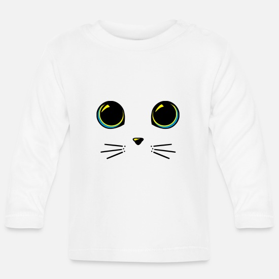 Stylish Baby Clothes - Cat eyes - Baby Longsleeve Shirt white