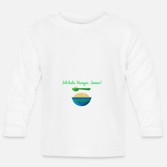 Baby Sayings Baby Clothes - hunger - Baby Longsleeve Shirt white