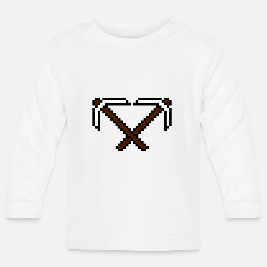 Clip Art Baby Clothes - 2 cross pixel retro computer game build gamer game - Baby Longsleeve Shirt white