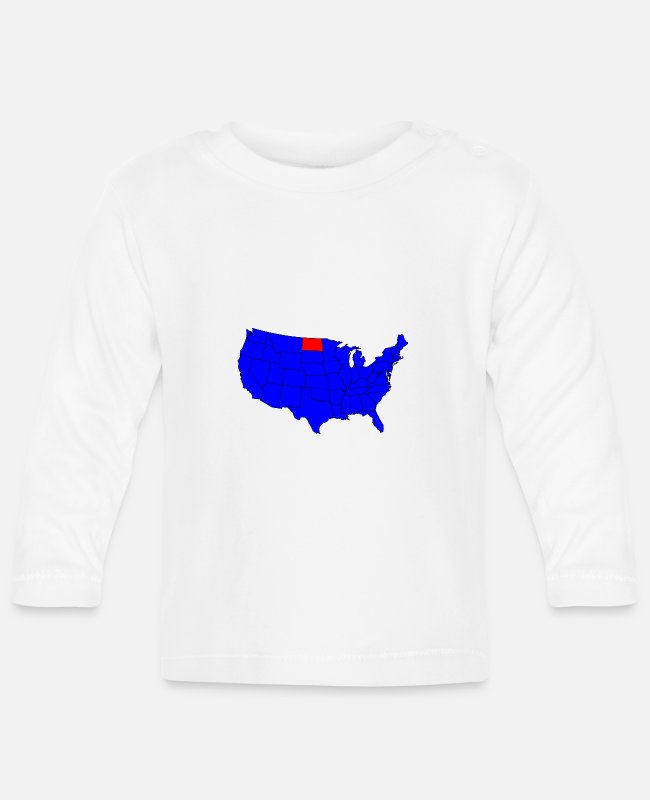 North Carolina Baby Langarmshirts - Position des Bundesstaates North Dakota - Baby Langarmshirt Weiß