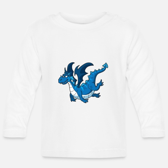 Fantasy Baby Clothes - Blue dragon - Baby Longsleeve Shirt white