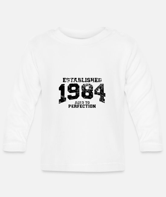 Compleanno Baby Long-Sleeved Shirts - established 1984 - aged to perfection(uk) - Baby Longsleeve Shirt white