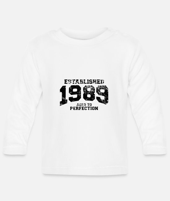 Compleanno Baby Long-Sleeved Shirts - established 1989 - aged to perfection(uk) - Baby Longsleeve Shirt white