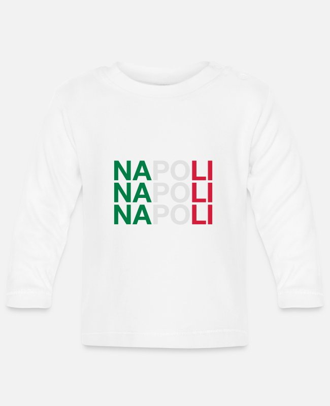 Italian Flag Baby Long-Sleeved Shirts - NAPOLI - Baby Longsleeve Shirt white