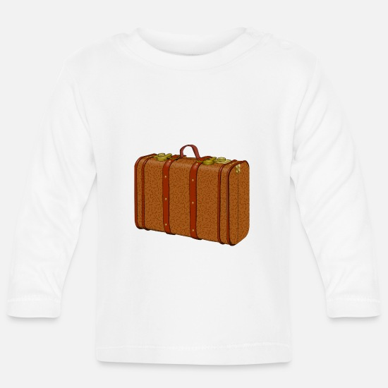 Travel Baby Clothes - suitcase - Baby Longsleeve Shirt white