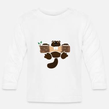 Eagerness beaver eager rodent otter wood forest teeth tree - Baby Longsleeve Shirt