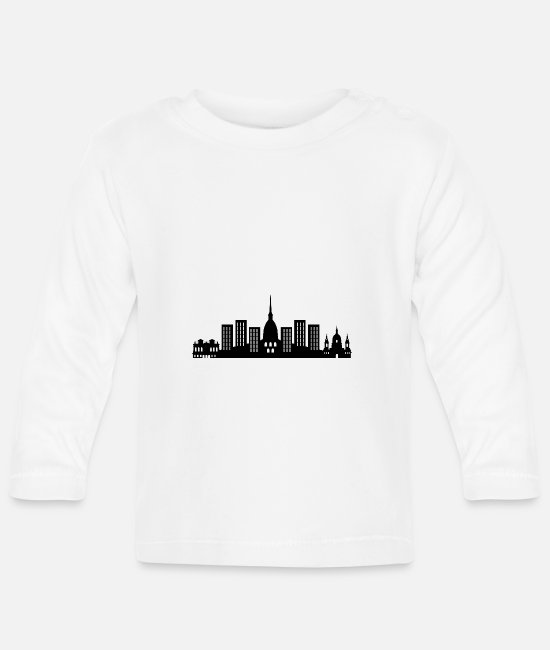 Urban Baby Long-Sleeved Shirts - turin skyline - Baby Longsleeve Shirt white