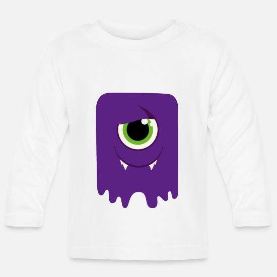 Carneval Baby Clothes - Monster / Alien Papa - Baby Longsleeve Shirt white