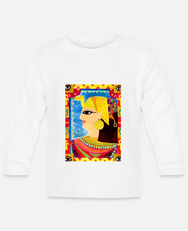 Nile Baby Long-Sleeved Shirts - Ancient Egypt, naive art, unique work of art - Baby Longsleeve Shirt white