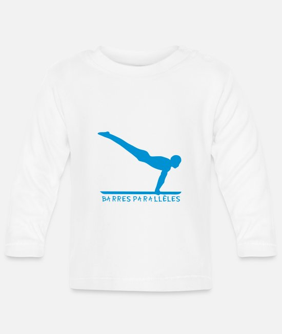 Bar Baby Clothes - parallel bar gymnastics sports logo 4 - Baby Longsleeve Shirt white