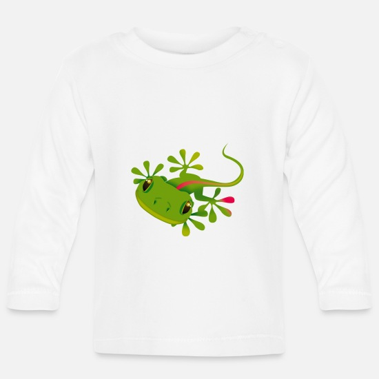 Gecko Baby Clothes - a gecko - Baby Longsleeve Shirt white